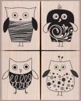 Tampons bois FOUR STYLISH OWLS - Hero Arts