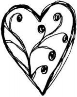 Tampon bois coeur arabesque - Heindesign