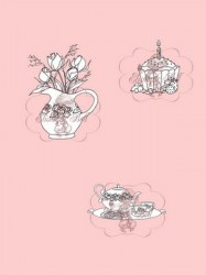 **Tampons clear CUPCAKE ROSES AND TEA - Belles'n whistles