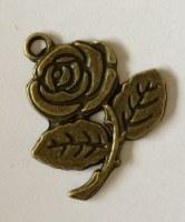 Charm ROSE 4 antique brass