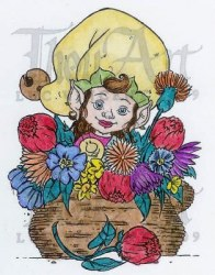 Tampon non monté LITTLEBELL IN FLOWERPOT - In2stamps