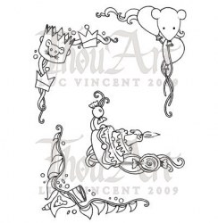 Tampon non monté BIRTHDAY ORNAMENTS - In2Stamps
