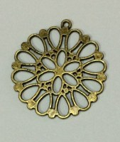 Charm HOLLOW FLOWER antique bronze