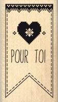 Tampon bois FANION JOLI COEUR - Florilèges