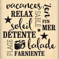 {Capsule juin 2016}Tampon bois DETENTE ET VACANCES - Florilèges