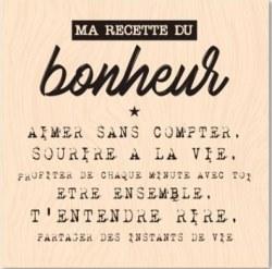 {Version originale}Tampon bois MA RECETTE DU BONHEUR - Les ateliers de Karine