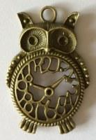 Charm HORLOGE HIBOU bronze