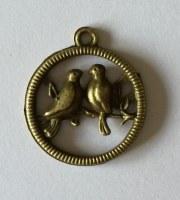 Charm 2 OISEAUX antique bronze