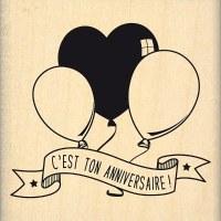 {capsule octobre 2016}Tampon bois ANNIVERSAIRE AUX BALLONS - Florilèges