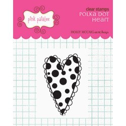 Tampon clear Polka heart - Pink paislee