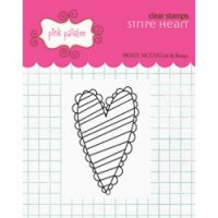 Tampon clear Stripe heart - Pink paislee