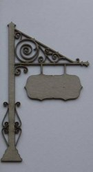 Chipboard HANGING SIGN POST - Dusty attic