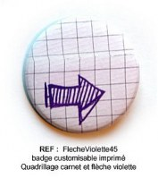 Badge FLECHE VIOLETTE 45 mm - Scrapbuttons