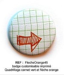 Badge FLECHE ORANGE 45mm - ScrapButtons