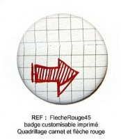 Badge FLECHE ROUGE 45mm - ScrapButtons