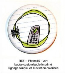 Badge PHONE VERT 45 mm - ScrapButtons
