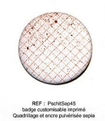 Badge PSCHIT SEPIA 45 mm - ScrapButtons