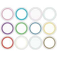 Scalloped journaling circle tags BRIGHT - Elle's studio