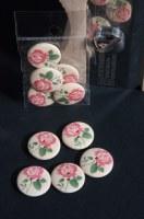 5 boutons bois FLEURS ROSES - Zenatytude