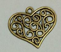 Charm COEUR FILIGRANE bronze