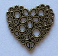 Charm COEUR FLEURI bronze