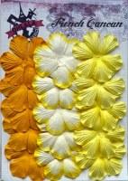 Fleurs plates plissées 6 pétales JAUNE - Ohlala