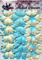 Fleurs plates plissées 6 pétales TURQUOISE - Ohlala