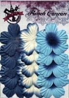Fleurs plates plissées 5 pétales BLEU - Ohlala