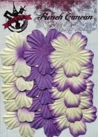 Fleurs plates plissées 5 pétales VIOLET - Ohlala