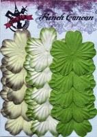 Fleurs plates plissées 5 pétales VERT BRUN - Ohlala