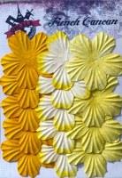 Fleurs plates plissées 5 pétales JAUNE - Ohlala
