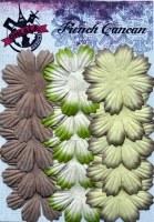 Fleurs plates plissées 8 pétales VERT BRUN - Ohlala