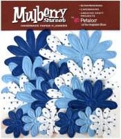 Fleurs EMBOSSED DAISIES Royal blue - Petaloo