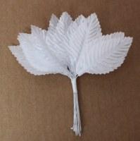 Bouquet 12 feuilles blanches tissu