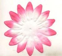 Fleur tissu blanche et rose 9 cm - Atilolou