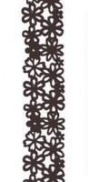 Ruban fleurs velours marron