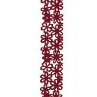 Ruban fleurs velours rouge