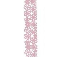 Ruban fleurs velours rose