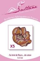 5 broderies fleurs de coton