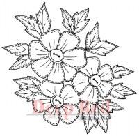 Tampon monté sur mousse STITCHED FLOWERS - Deep red