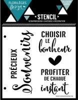 Pochoir BONHEUR ET INSTANT - Florilèges