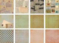 Set 36 papiers 15x15 cm Tante philomène & Oncle Octave
