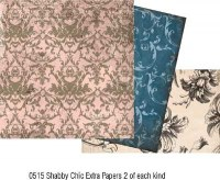 Kit 6 feuilles SHABBY CHIC EXTRAS - Collections elements